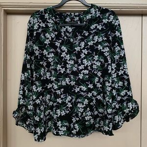 Banana Republic Ruffle Sleeve Floral Blouse